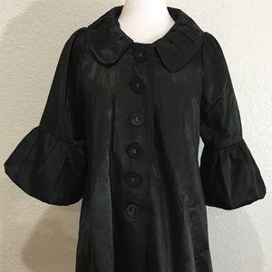 RYU Coat Dress Large Shiny Black Bishop Sleeves